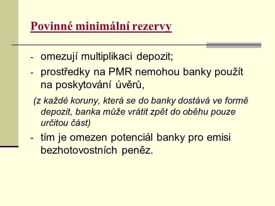 Povinné minimální rezervy - omezují multiplikaci depozit; - prostředky na PMR nemohou banky použít na poskytování úvěrů, (z každé koruny, která se do banky dostává ve formě depozit, banka může vrátit zpět do oběhu pouze určitou část) - tím je omezen potenciál banky pro emisi bezhotovostních peněz.