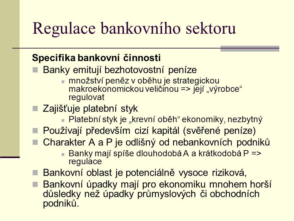 """Regulace bankovního sektoru Specifika bankovní činnosti Banky emitují bezhotovostní peníze množství peněz v oběhu je strategickou makroekonomickou veličinou => její """"výrobce regulovat Zajišťuje platební styk Platební styk je """"krevní oběh ekonomiky, nezbytný Používají především cizí kapitál (svěřené peníze) Charakter A a P je odlišný od nebankovních podniků Banky mají spíše dlouhodobá A a krátkodobá P => regulace Bankovní oblast je potenciálně vysoce riziková, Bankovní úpadky mají pro ekonomiku mnohem horší důsledky než úpadky průmyslových či obchodních podniků."""
