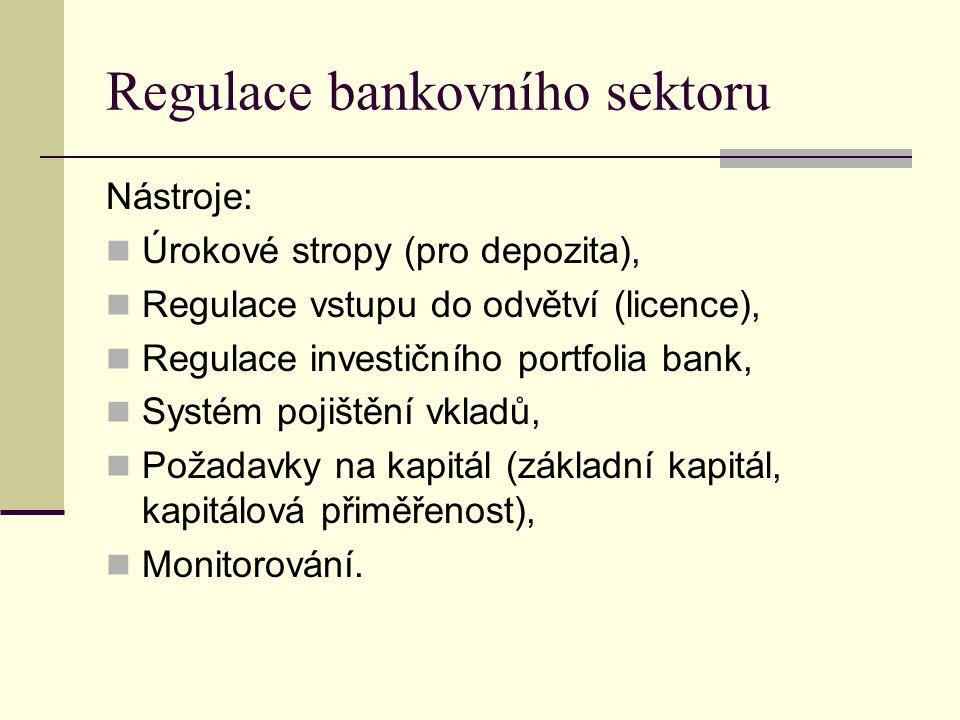 Regulace bankovního sektoru Nástroje: Úrokové stropy (pro depozita), Regulace vstupu do odvětví (licence), Regulace investičního portfolia bank, Systém pojištění vkladů, Požadavky na kapitál (základní kapitál, kapitálová přiměřenost), Monitorování.