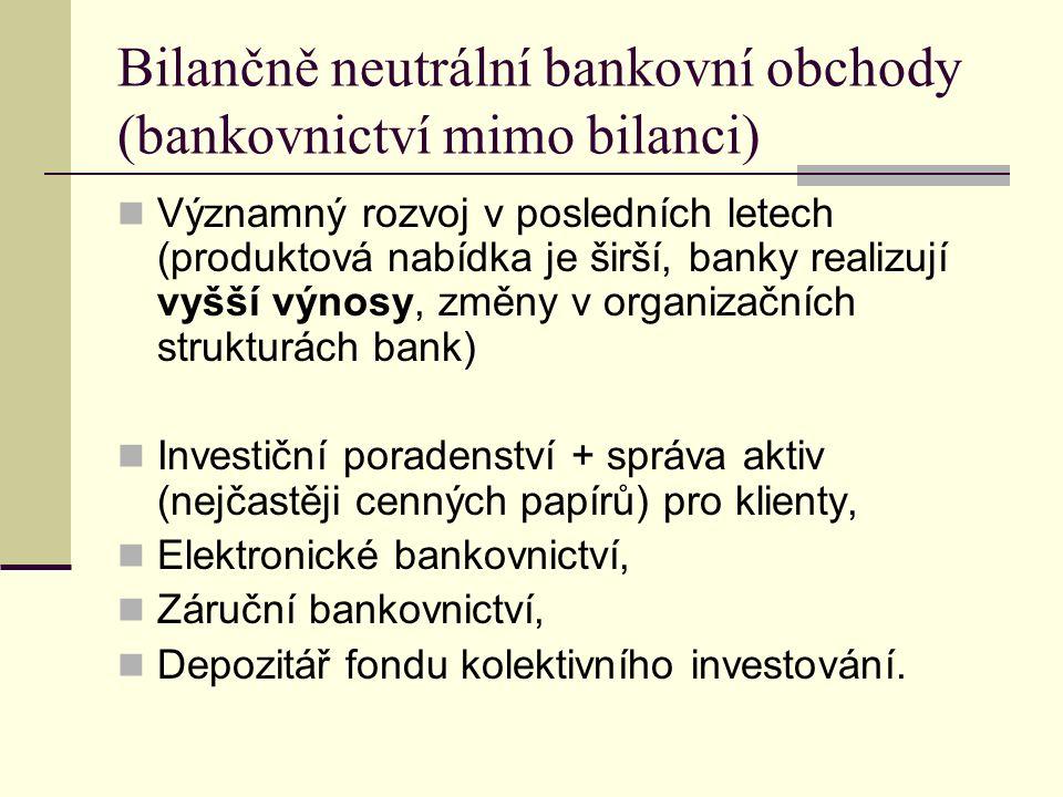 Bilančně neutrální bankovní obchody (bankovnictví mimo bilanci) Významný rozvoj v posledních letech (produktová nabídka je širší, banky realizují vyšší výnosy, změny v organizačních strukturách bank) Investiční poradenství + správa aktiv (nejčastěji cenných papírů) pro klienty, Elektronické bankovnictví, Záruční bankovnictví, Depozitář fondu kolektivního investování.