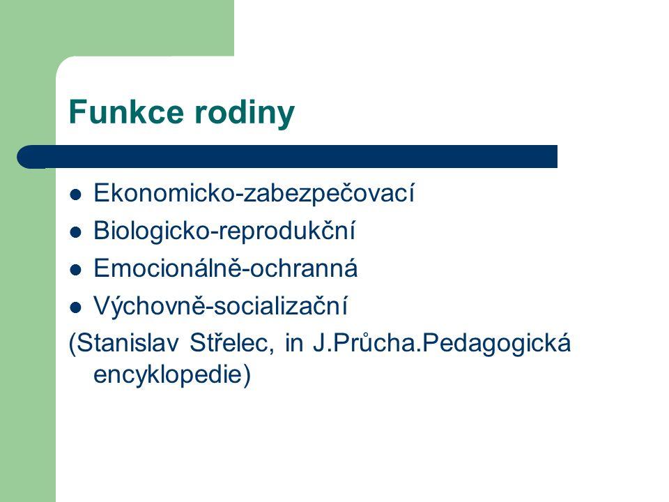 Funkce rodiny Ekonomicko-zabezpečovací Biologicko-reprodukční Emocionálně-ochranná Výchovně-socializační (Stanislav Střelec, in J.Průcha.Pedagogická encyklopedie)