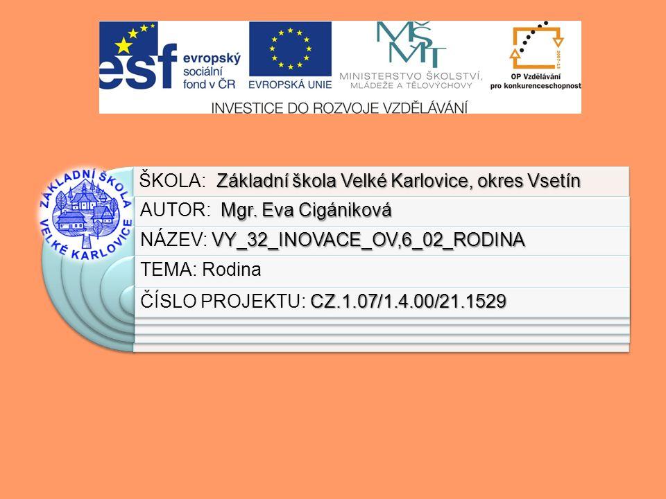 Výukový materiál:EUPŠ _OP VK_Cigániková_OV,6_02_Rodina Šablona:III/2 Sada:OV,6 Autor:Mgr.