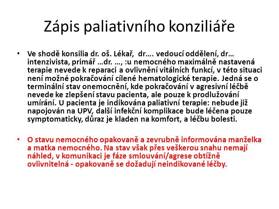 Zápis paliativního konziliáře Ve shodě konsilia dr. oš. Lékař, dr…. vedoucí oddělení, dr… intenzivista, primář …dr. …, :u nemocného maximálně nastaven