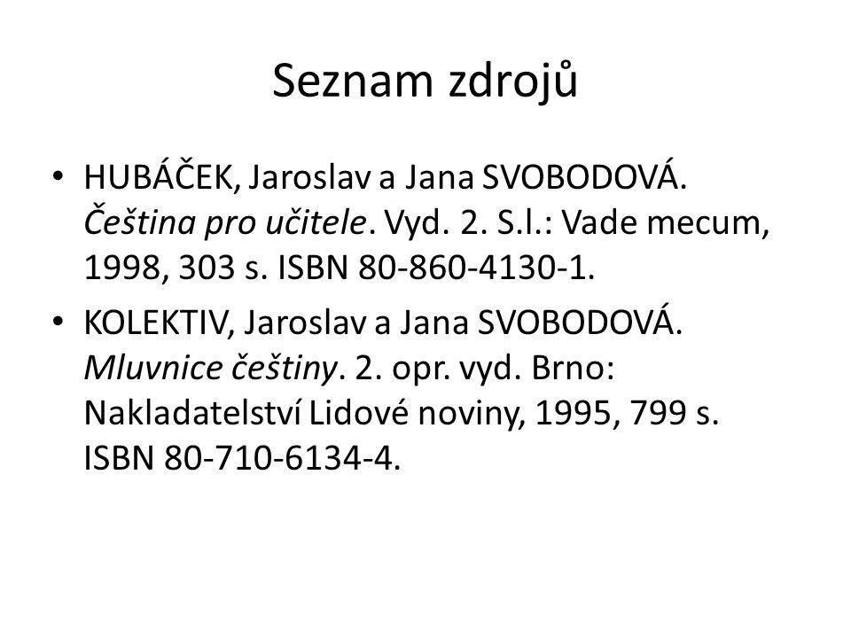 Seznam zdrojů HUBÁČEK, Jaroslav a Jana SVOBODOVÁ. Čeština pro učitele.