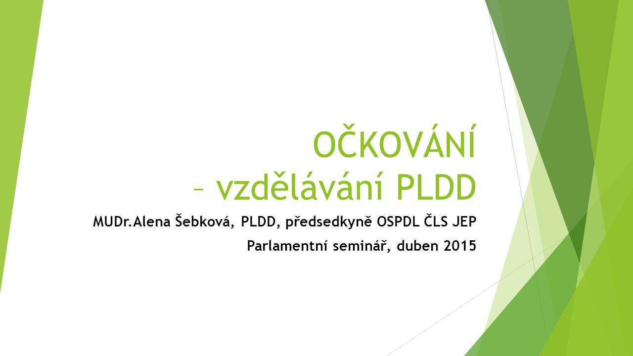 OČKOVÁNÍ – vzdělávání PLDD MUDr.Alena Šebková, PLDD, předsedkyně OSPDL ČLS JEP Parlamentní seminář, duben 2015