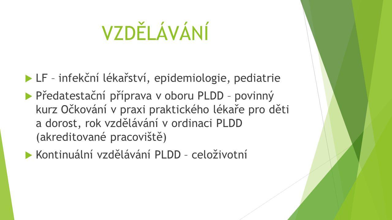 VZDĚLÁVÁNÍ  LF – infekční lékařství, epidemiologie, pediatrie  Předatestační příprava v oboru PLDD – povinný kurz Očkování v praxi praktického lékaře pro děti a dorost, rok vzdělávání v ordinaci PLDD (akreditované pracoviště)  Kontinuální vzdělávání PLDD – celoživotní