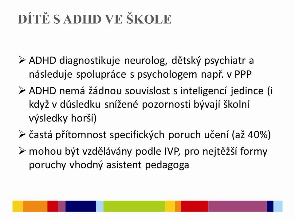 DÍTĚ S ADHD VE ŠKOLE  ADHD diagnostikuje neurolog, dětský psychiatr a následuje spolupráce s psychologem např. v PPP  ADHD nemá žádnou souvislost s