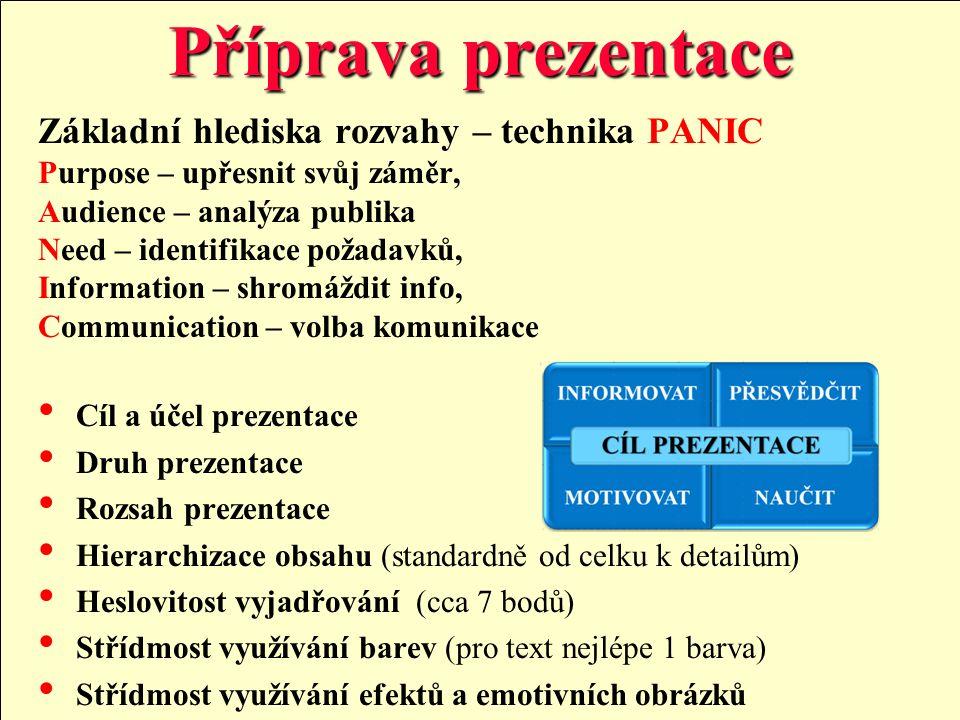 Příprava prezentace Základní hlediska rozvahy – technika PANIC Purpose – upřesnit svůj záměr, Audience – analýza publika Need – identifikace požadavků