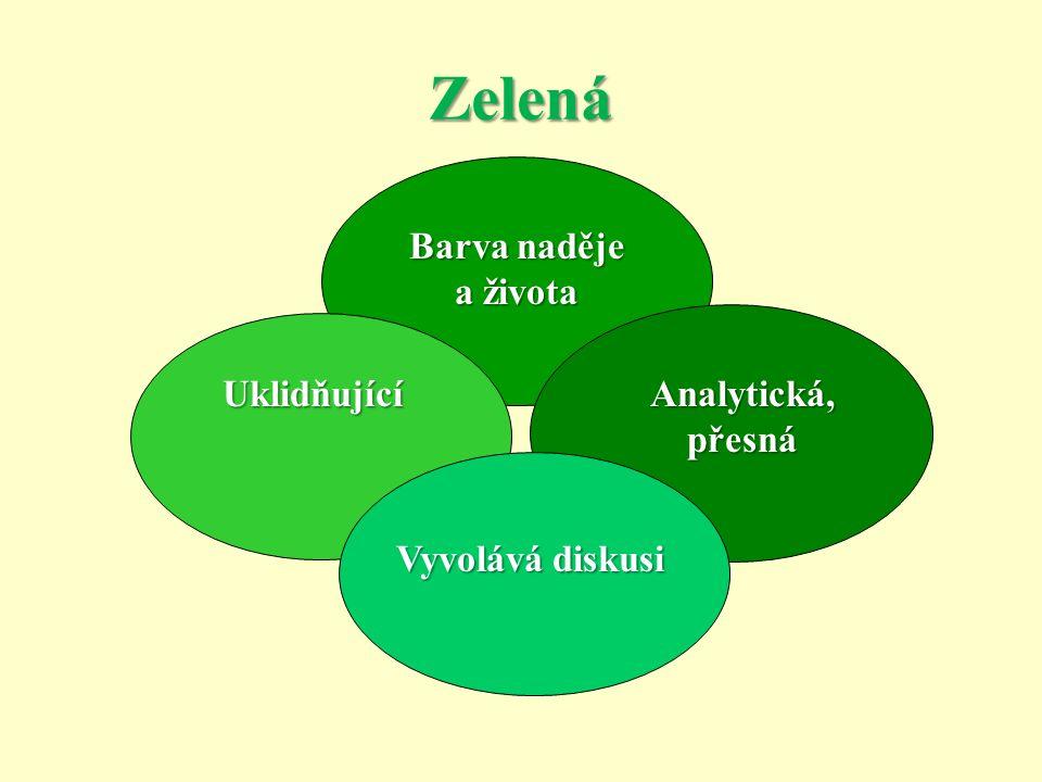 Zelená Barva naděje a života Analytická, přesná Uklidňující Vyvolává diskusi