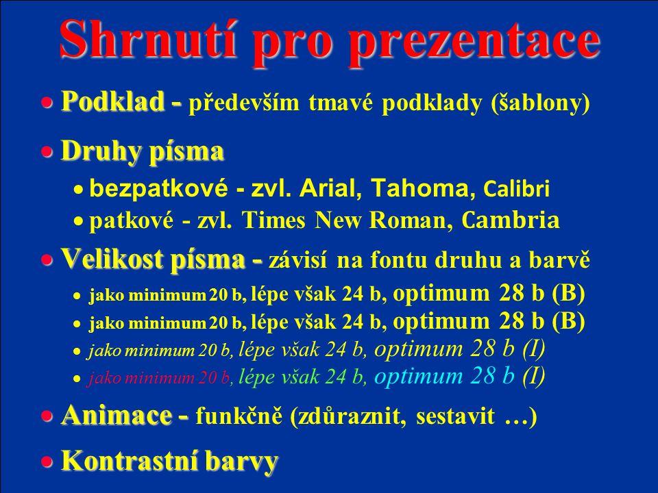 Shrnutí pro prezentace  Podklad -  Podklad - především tmavé podklady (šablony)  Druhy písma  bezpatkové - zvl.