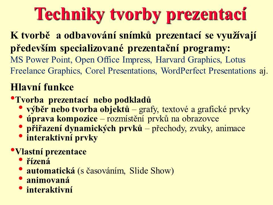 Techniky tvorby prezentací K tvorbě a odbavování snímků prezentací se využívají především specializované prezentační programy: MS Power Point, Open Office Impress, Harvard Graphics, Lotus Freelance Graphics, Corel Presentations, WordPerfect Presentations aj.