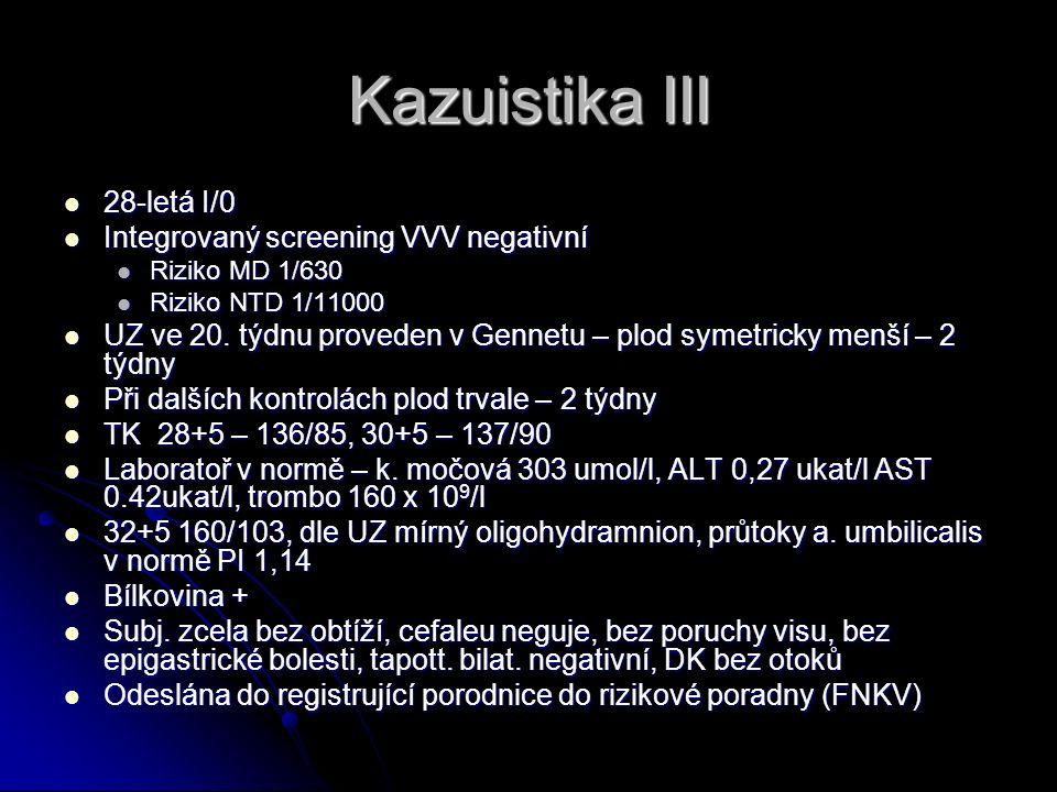 Kazuistika III 28-letá I/0 28-letá I/0 Integrovaný screening VVV negativní Integrovaný screening VVV negativní Riziko MD 1/630 Riziko MD 1/630 Riziko NTD 1/11000 Riziko NTD 1/11000 UZ ve 20.