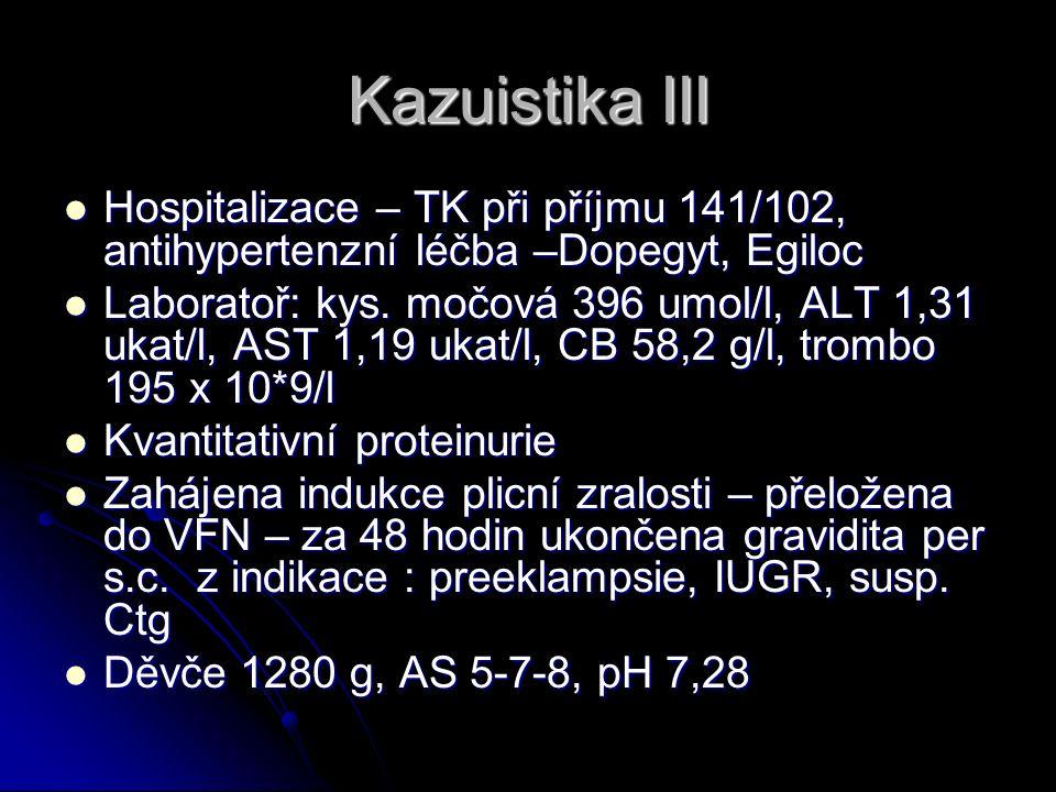 Kazuistika III Hospitalizace – TK při příjmu 141/102, antihypertenzní léčba –Dopegyt, Egiloc Hospitalizace – TK při příjmu 141/102, antihypertenzní léčba –Dopegyt, Egiloc Laboratoř: kys.