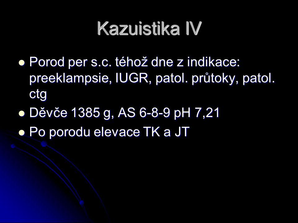 Kazuistika IV Porod per s.c. téhož dne z indikace: preeklampsie, IUGR, patol.