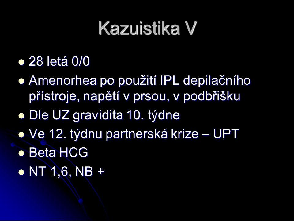 Kazuistika V 28 letá 0/0 28 letá 0/0 Amenorhea po použití IPL depilačního přístroje, napětí v prsou, v podbřišku Amenorhea po použití IPL depilačního přístroje, napětí v prsou, v podbřišku Dle UZ gravidita 10.
