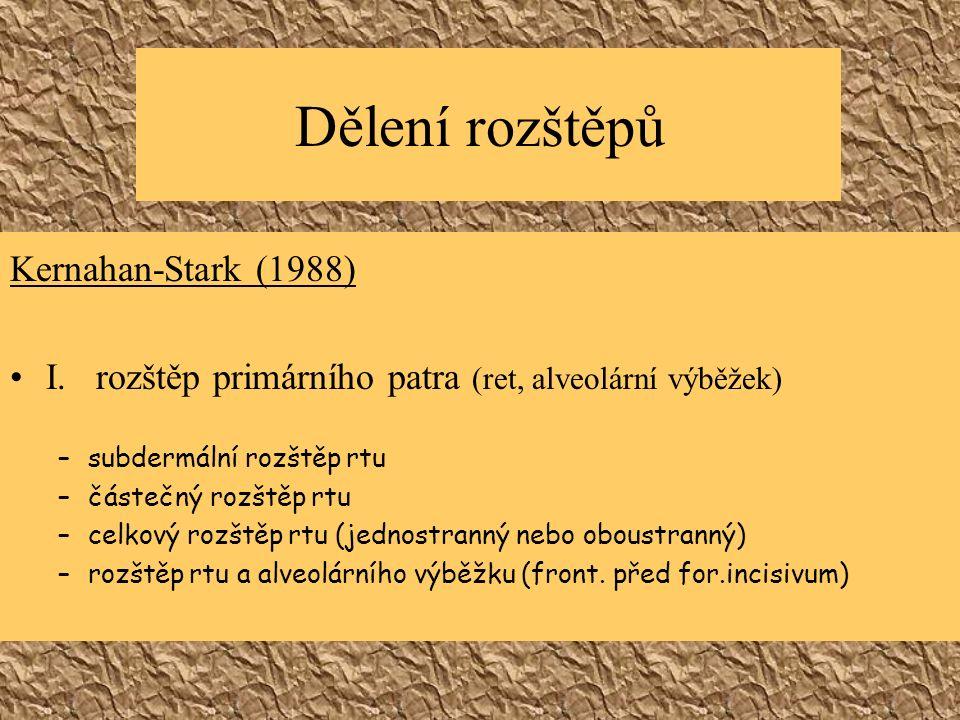 Dělení rozštěpů Kernahan-Stark (1988) I.