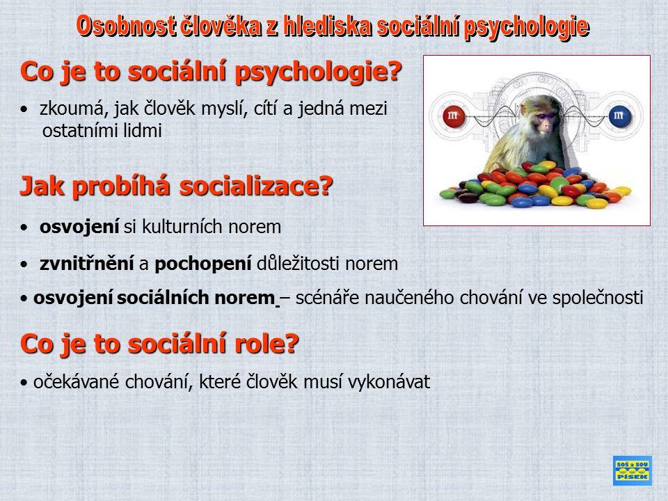 zkoumá, jak člověk myslí, cítí a jedná mezi ostatními lidmi osvojení si kulturních norem Co je to sociální psychologie.
