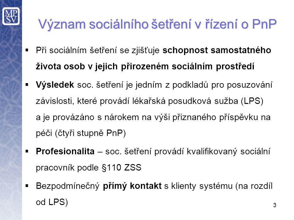  Při sociálním šetření se zjišťuje schopnost samostatného života osob v jejich přirozeném sociálním prostředí  Výsledek soc.