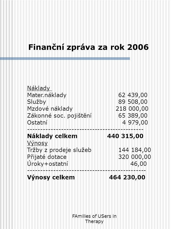 FAmilies of USers in Therapy Finanční zpráva za rok 2006 Náklady Mater.náklady62 439,00 Služby89 508,00 Mzdové náklady 218 000,00 Zákonné soc.