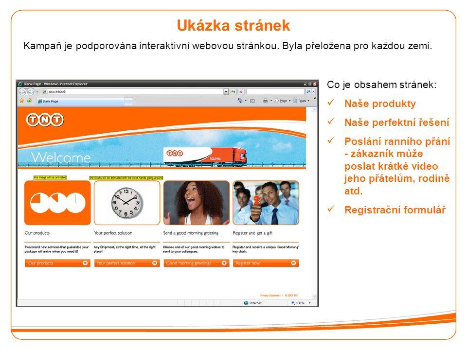 Ukázka stránek Kampaň je podporována interaktivní webovou stránkou.