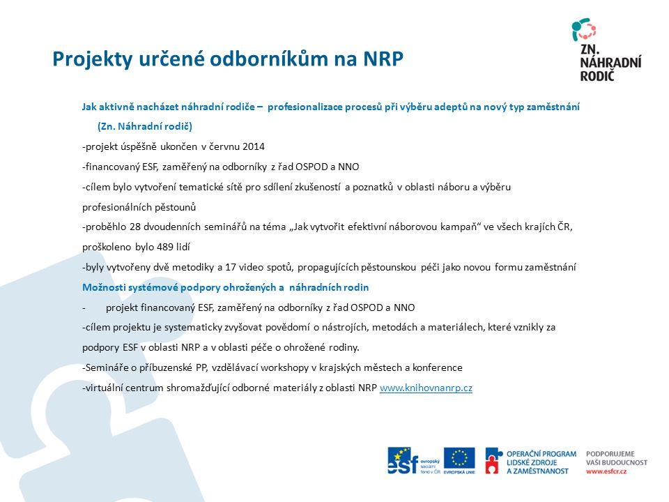 Projekty určené odborníkům na NRP Jak aktivně nacházet náhradní rodiče – profesionalizace procesů při výběru adeptů na nový typ zaměstnání (Zn.