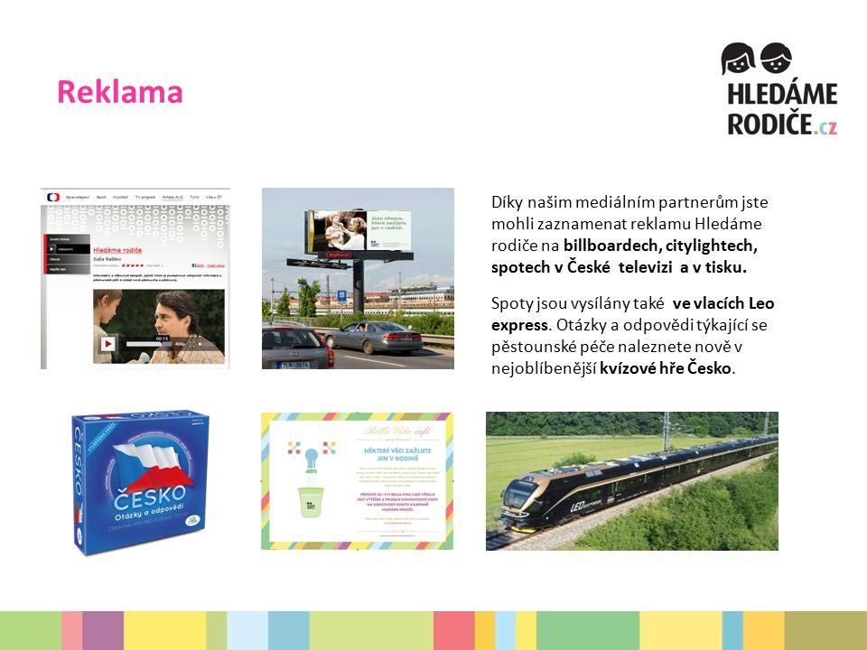 Reklama Díky našim mediálním partnerům jste mohli zaznamenat reklamu Hledáme rodiče na billboardech, citylightech, spotech v České televizi a v tisku.
