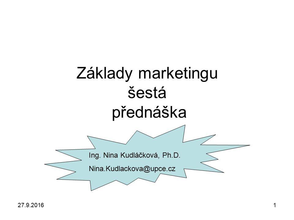 27.9.20161 Základy marketingu šestá přednáška Ing. Nina Kudláčková, Ph.D. Nina.Kudlackova@upce.cz