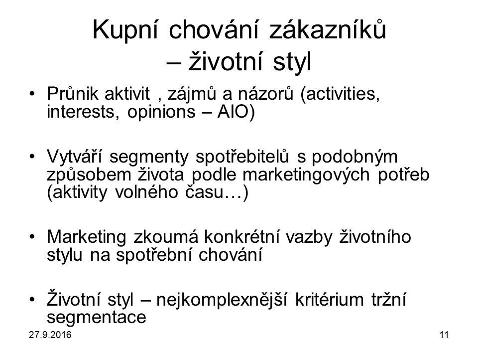 27.9.201611 Kupní chování zákazníků – životní styl Průnik aktivit, zájmů a názorů (activities, interests, opinions – AIO) Vytváří segmenty spotřebitel