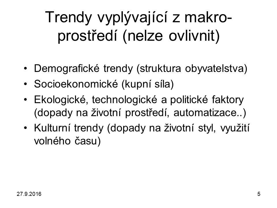 5 Trendy vyplývající z makro- prostředí (nelze ovlivnit) Demografické trendy (struktura obyvatelstva) Socioekonomické (kupní síla) Ekologické, technol