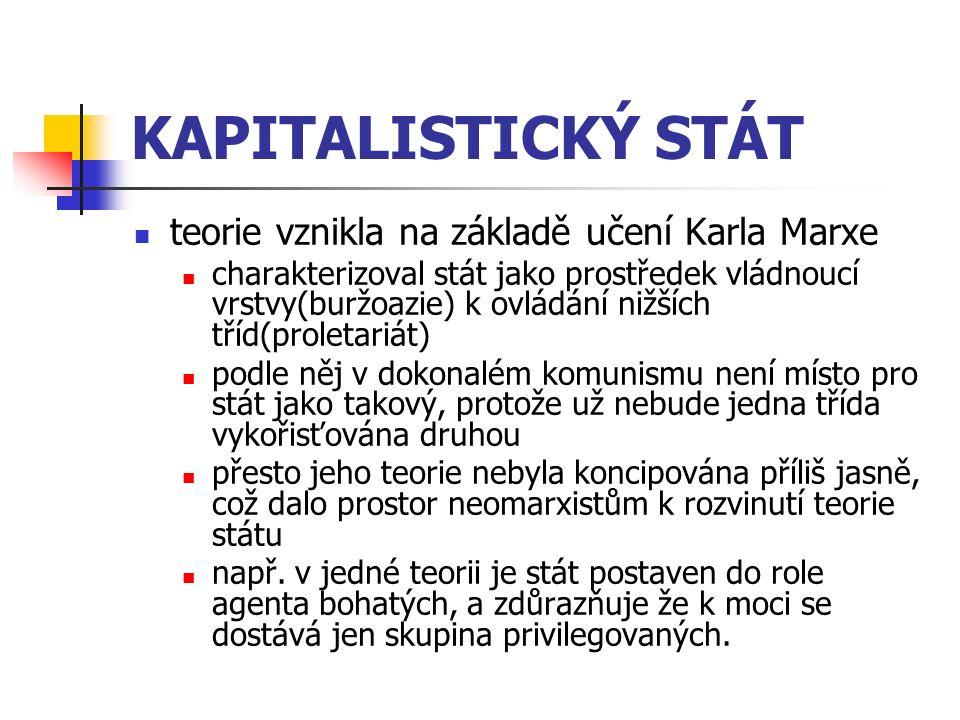 KAPITALISTICKÝ STÁT teorie vznikla na základě učení Karla Marxe charakterizoval stát jako prostředek vládnoucí vrstvy(buržoazie) k ovládání nižších tř