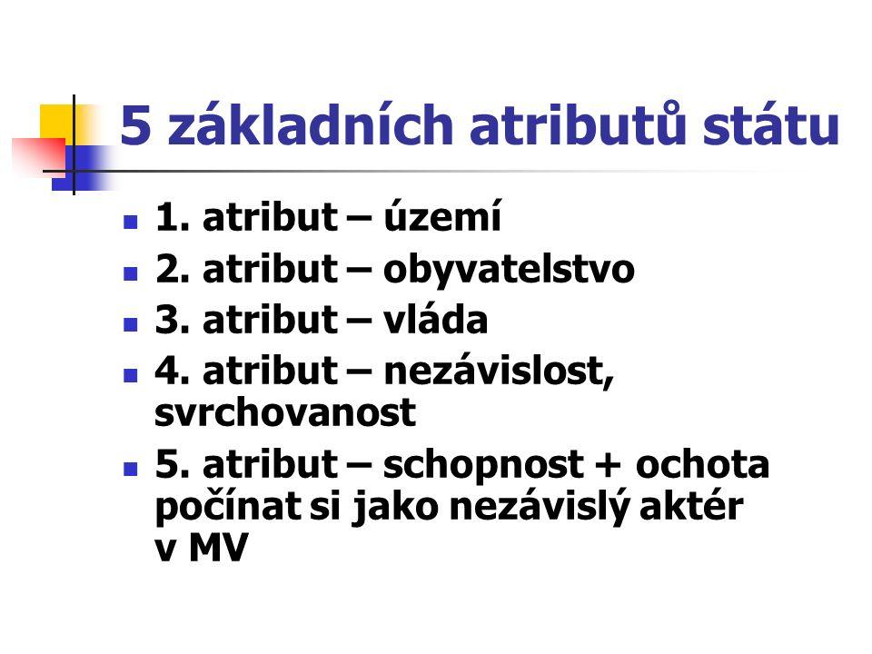 5 základních atributů státu 1. atribut – území 2. atribut – obyvatelstvo 3. atribut – vláda 4. atribut – nezávislost, svrchovanost 5. atribut – schopn