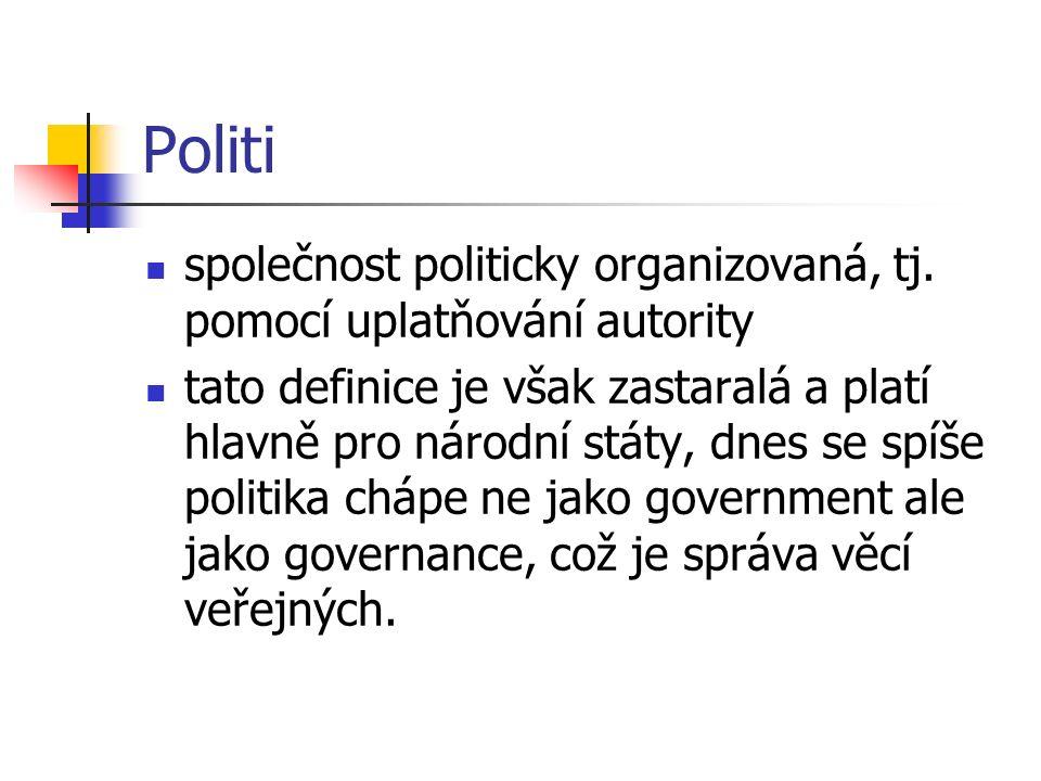 Governance dělí se na veřejnou a soukromou sféru veřejná je financovaná z daní a slouží všem soukromou sféru si financují sami občané a sledují tak vlastní cíle
