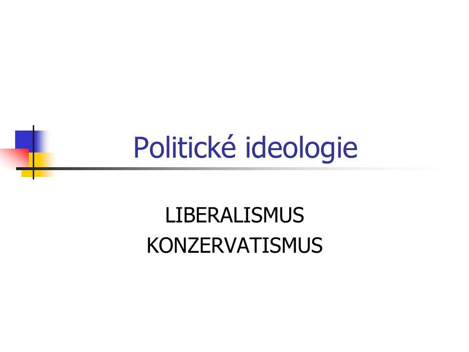 Politické ideologie LIBERALISMUS KONZERVATISMUS