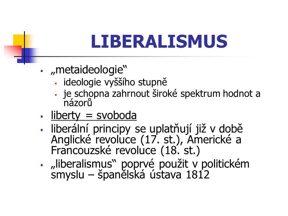 """LIBERALISMUS  """"metaideologie""""  ideologie vyššího stupně  je schopna zahrnout široké spektrum hodnot a názorů  liberty = svoboda  liberální princi"""
