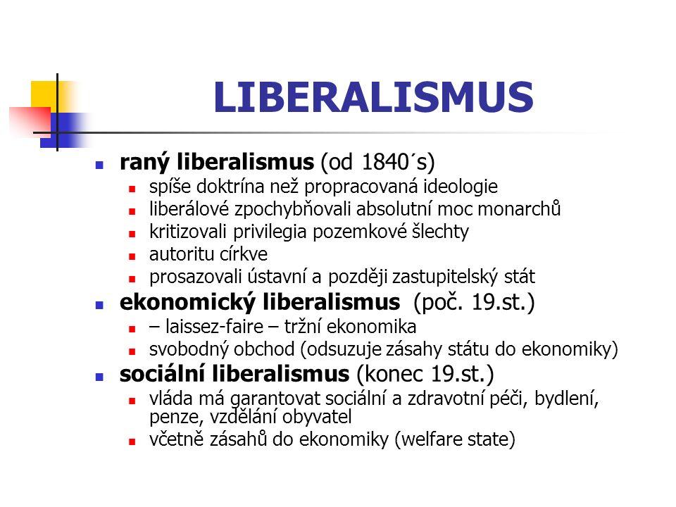 LIBERALISMUS raný liberalismus (od 1840´s) spíše doktrína než propracovaná ideologie liberálové zpochybňovali absolutní moc monarchů kritizovali privi