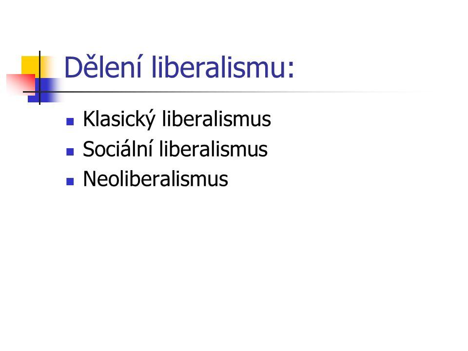 Dělení liberalismu: Klasický liberalismus Sociální liberalismus Neoliberalismus