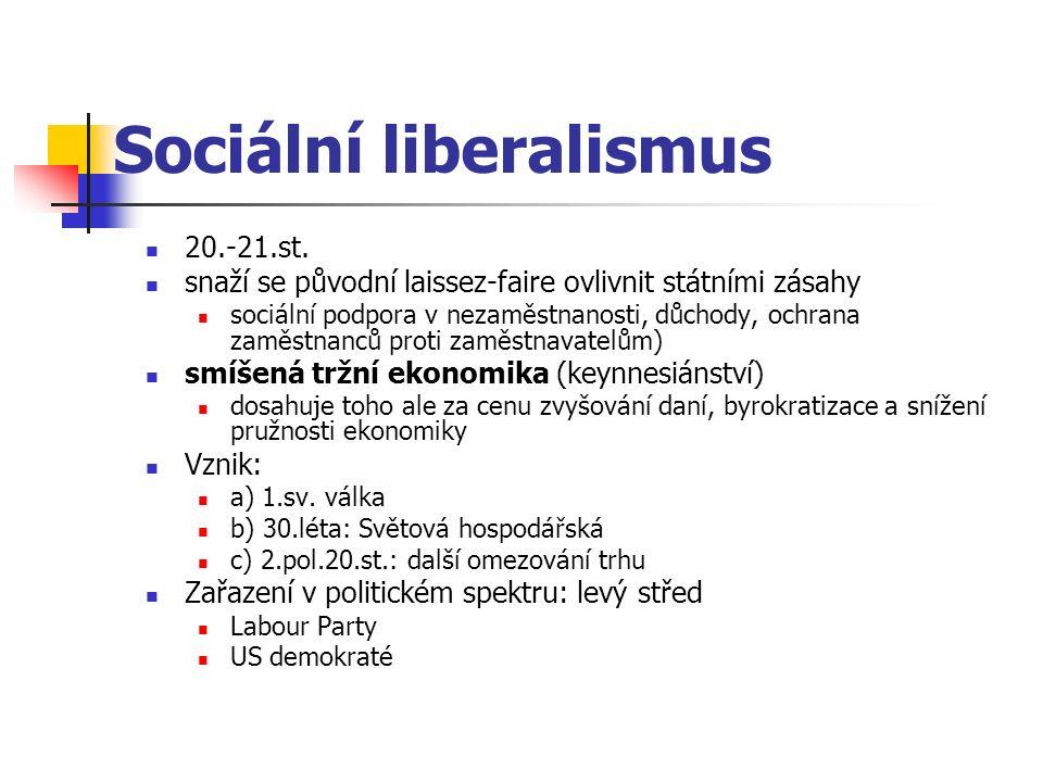 Sociální liberalismus 20.-21.st. snaží se původní laissez-faire ovlivnit státními zásahy sociální podpora v nezaměstnanosti, důchody, ochrana zaměstna