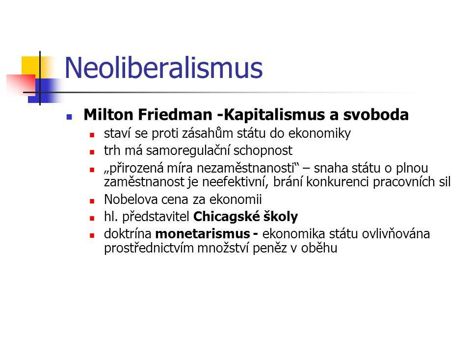 """Neoliberalismus Milton Friedman -Kapitalismus a svoboda staví se proti zásahům státu do ekonomiky trh má samoregulační schopnost """"přirozená míra nezam"""