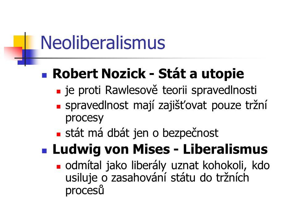 Neoliberalismus Robert Nozick - Stát a utopie je proti Rawlesově teorii spravedlnosti spravedlnost mají zajišťovat pouze tržní procesy stát má dbát je