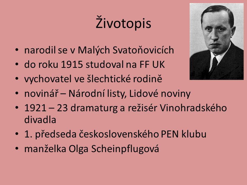 Životopis narodil se v Malých Svatoňovicích do roku 1915 studoval na FF UK vychovatel ve šlechtické rodině novinář – Národní listy, Lidové noviny 1921 – 23 dramaturg a režisér Vinohradského divadla 1.