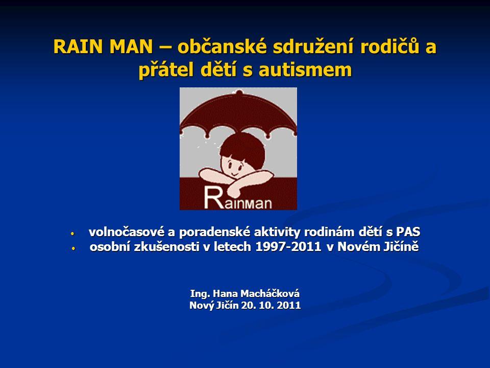 RAIN MAN – občanské sdružení rodičů a přátel dětí s autismem volnočasové a poradenské aktivity rodinám dětí s PAS volnočasové a poradenské aktivity rodinám dětí s PAS osobní zkušenosti v letech 1997-2011 v Novém Jičíně osobní zkušenosti v letech 1997-2011 v Novém Jičíně Ing.