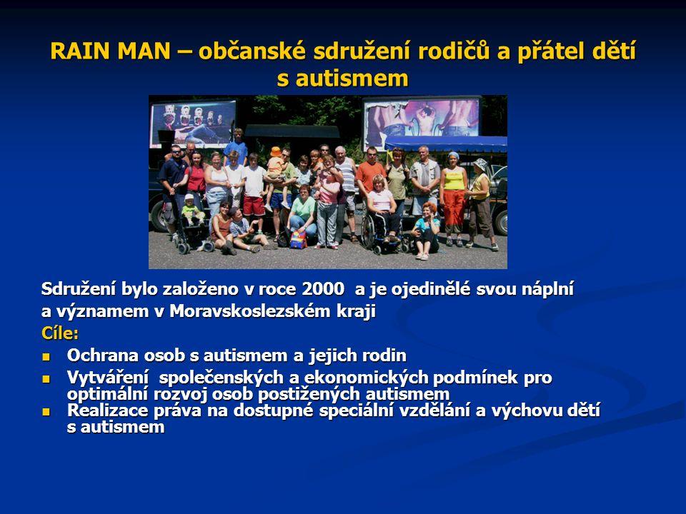 RAIN MAN – občanské sdružení rodičů a přátel dětí s autismem Sdružení bylo založeno v roce 2000 a je ojedinělé svou náplní a významem v Moravskoslezském kraji Cíle: Ochrana osob s autismem a jejich rodin Ochrana osob s autismem a jejich rodin Vytváření společenských a ekonomických podmínek pro optimální rozvoj osob postižených autismem Vytváření společenských a ekonomických podmínek pro optimální rozvoj osob postižených autismem Realizace práva na dostupné speciální vzdělání a výchovu dětí s autismem Realizace práva na dostupné speciální vzdělání a výchovu dětí s autismem