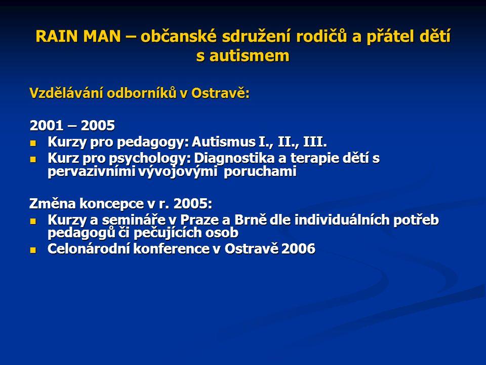 RAIN MAN – občanské sdružení rodičů a přátel dětí s autismem Vzdělávání odborníků v Ostravě: 2001 – 2005 Kurzy pro pedagogy: Autismus I., II., III.