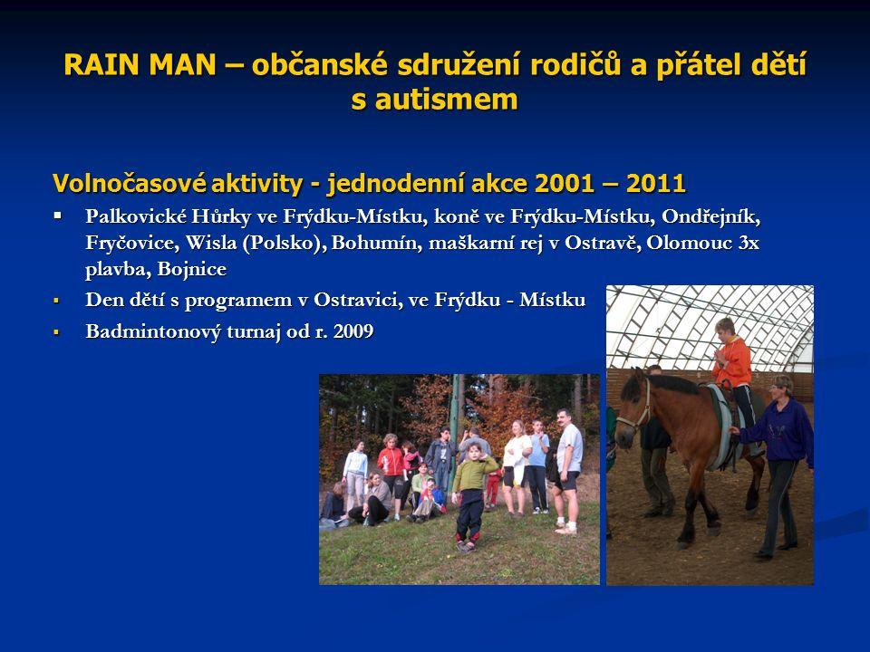 RAIN MAN – občanské sdružení rodičů a přátel dětí s autismem Volnočasové aktivity - jednodenní akce 2001 – 2011  Palkovické Hůrky ve Frýdku-Místku, koně ve Frýdku-Místku, Ondřejník, Fryčovice, Wisla (Polsko), Bohumín, maškarní rej v Ostravě, Olomouc 3x plavba, Bojnice  Den dětí s programem v Ostravici, ve Frýdku - Místku  Badmintonový turnaj od r.