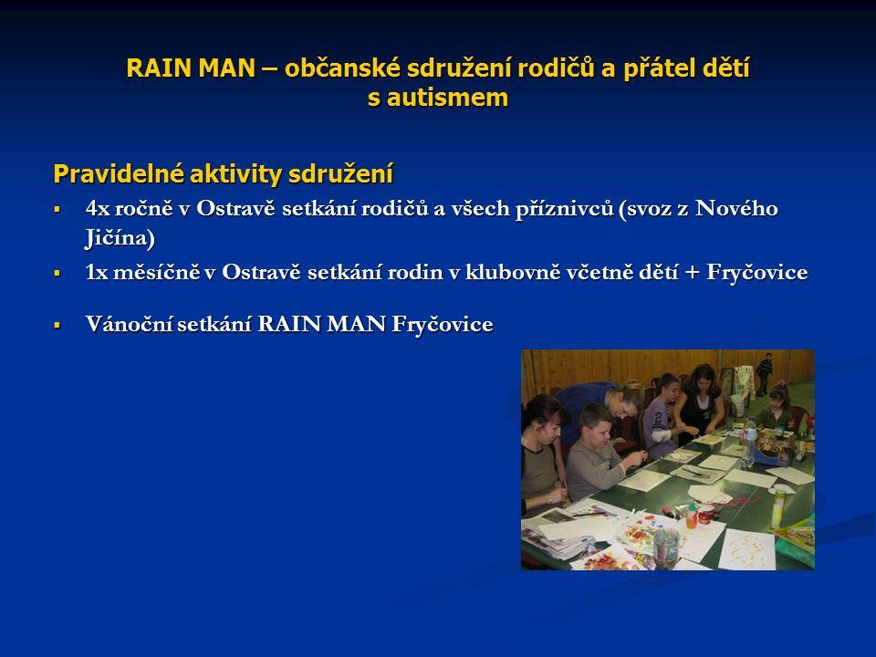RAIN MAN – občanské sdružení rodičů a přátel dětí s autismem Pravidelné aktivity sdružení  4x ročně v Ostravě setkání rodičů a všech příznivců (svoz z Nového Jičína)  1x měsíčně v Ostravě setkání rodin v klubovně včetně dětí + Fryčovice  Vánoční setkání RAIN MAN Fryčovice
