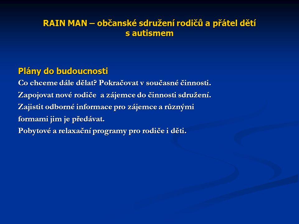 RAIN MAN – občanské sdružení rodičů a přátel dětí s autismem Plány do budoucnosti Co chceme dále dělat.