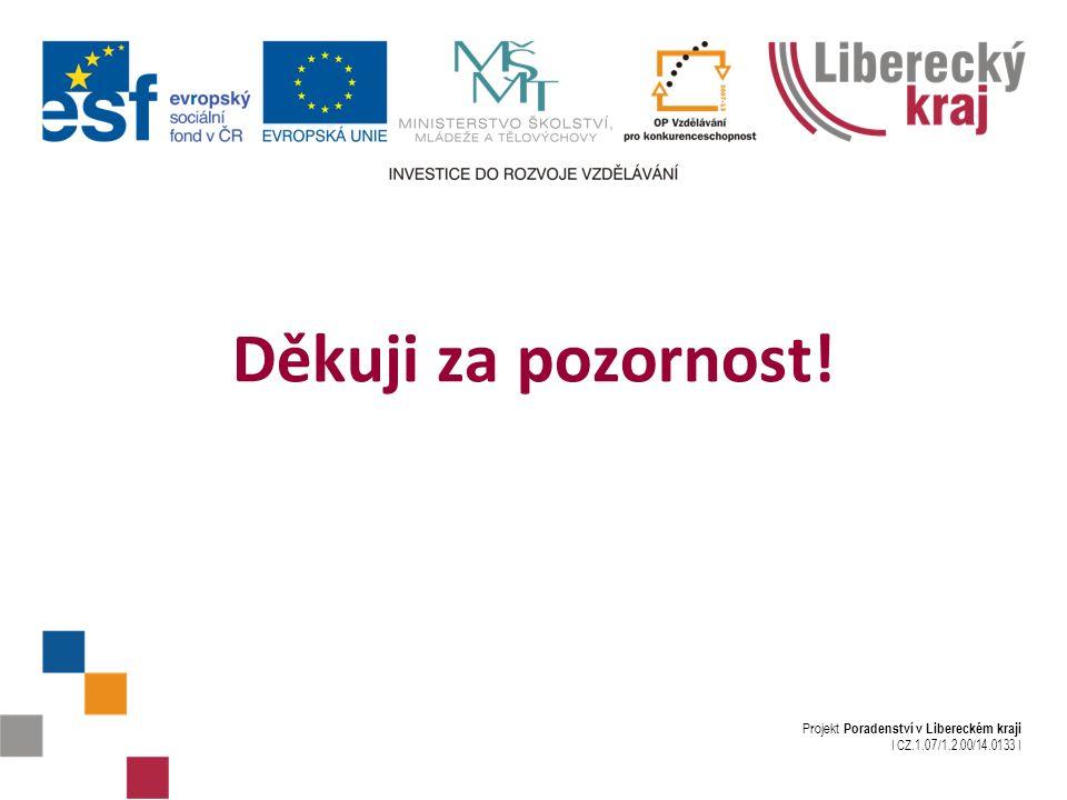 Projekt Poradenství v Libereckém kraji I CZ.1.07/1.2.00/14.0133 I Děkuji za pozornost!