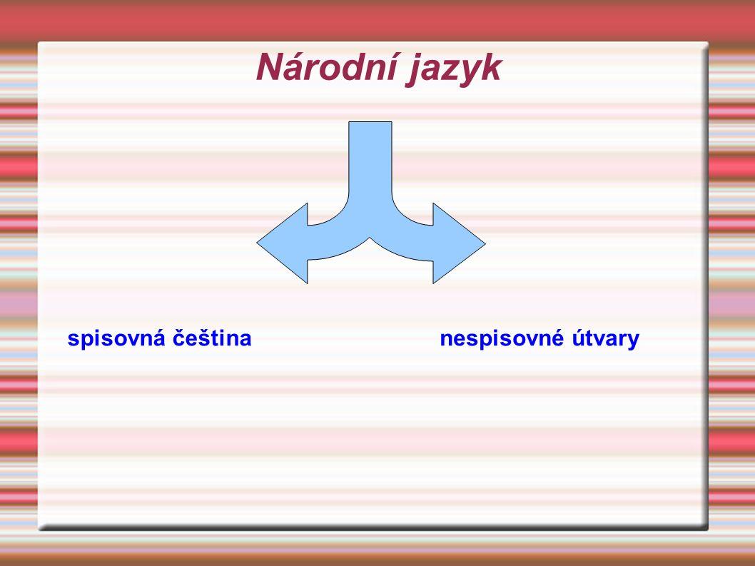 Národní jazyk spisovná čeština nespisovné útvary