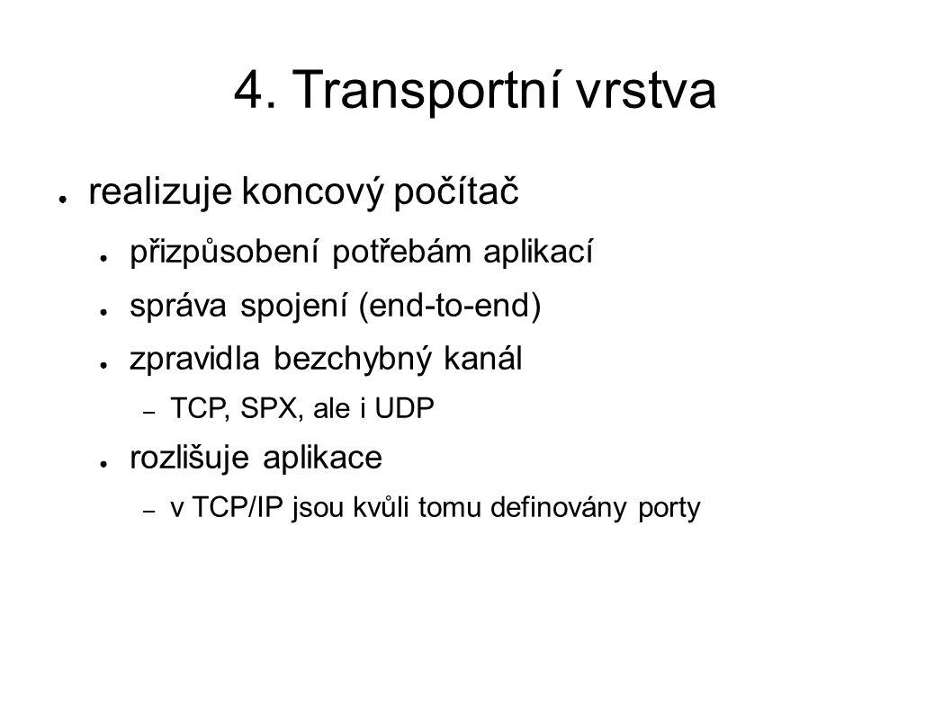 4. Transportní vrstva ● realizuje koncový počítač ● přizpůsobení potřebám aplikací ● správa spojení (end-to-end) ● zpravidla bezchybný kanál – TCP, SP