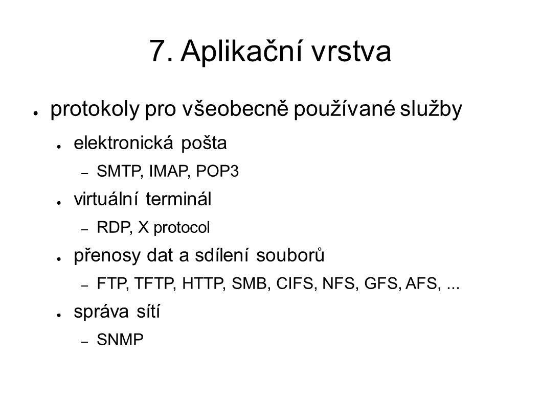 7. Aplikační vrstva ● protokoly pro všeobecně používané služby ● elektronická pošta – SMTP, IMAP, POP3 ● virtuální terminál – RDP, X protocol ● přenos